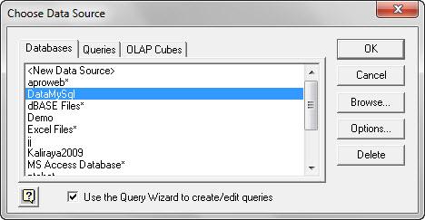 Import database MySQL dengan Microsoft Query